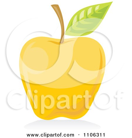 Clipart Yellow Apple Icon - Royalty Free Vector Illustration by Any Vector