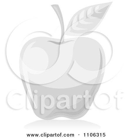 Clipart Gray Or White Apple Icon - Royalty Free Vector Illustration by Any Vector