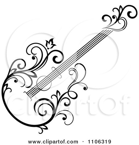 Clipart Black And White Floral Guitar 2 - Royalty Free Vector Illustration by Vector Tradition SM