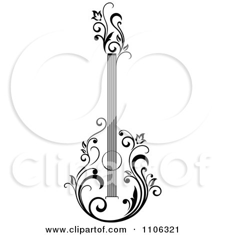 Clipart Black And White Floral Guitar 1 Royalty Free Vector Illustration