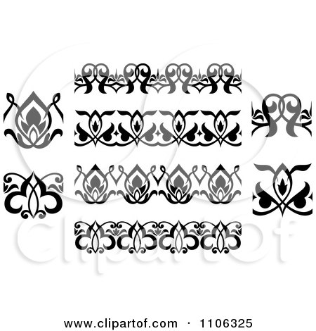 Clipart Black And White Victorian Floral Borders And Design Elements 2 - Royalty Free Vector Illustration by Vector Tradition SM
