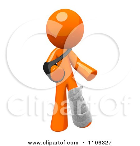 3d Orange Man With An Arm Sling And Leg Cast Posters, Art Prints