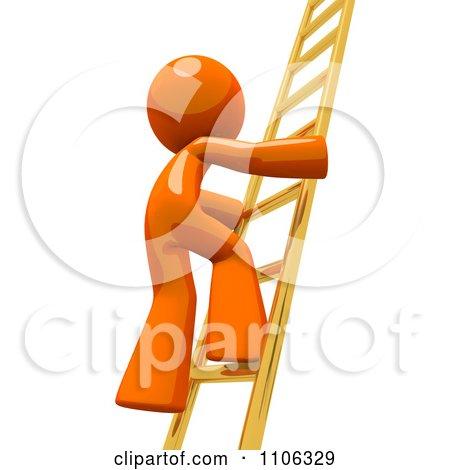Clipart 3d Orange Man Climbing A Golden Ladder - Royalty Free CGI Illustration by Leo Blanchette