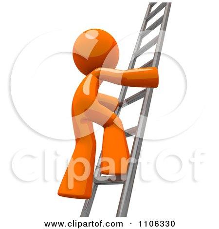 3d Orange Man Climbing A Silver Ladder Posters, Art Prints