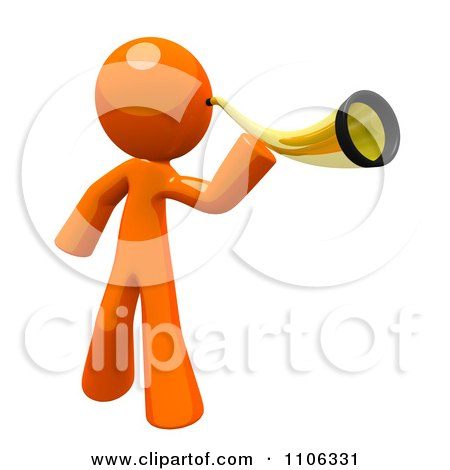 3d Orange Man Using An Ear Trumpet Posters, Art Prints