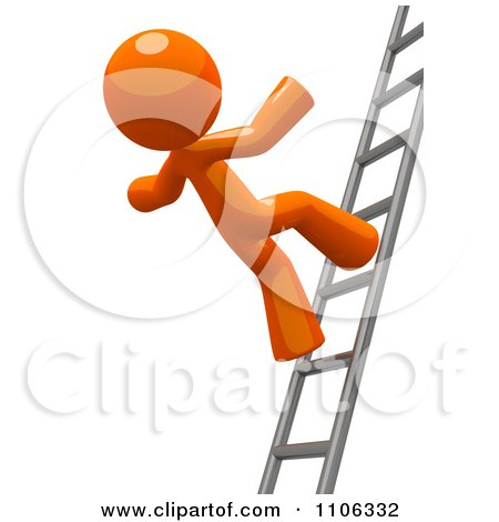 Clipart 3d Orange Man Falling From A Ladder - Royalty Free CGI Illustration by Leo Blanchette