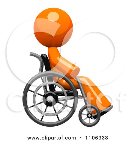 Clipart 3d Orange Man Recovering In A Wheel Chair - Royalty Free CGI Illustration by Leo Blanchette