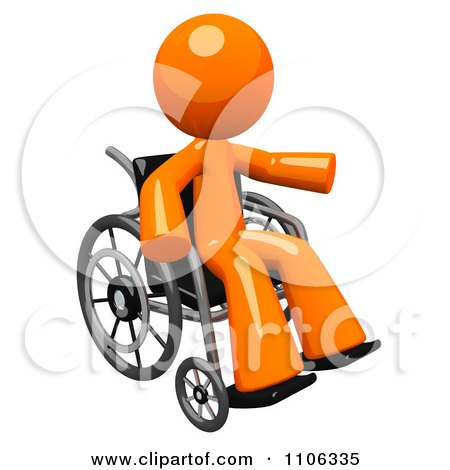 3d Orange Man Pointing In A Wheel Chair Posters, Art Prints