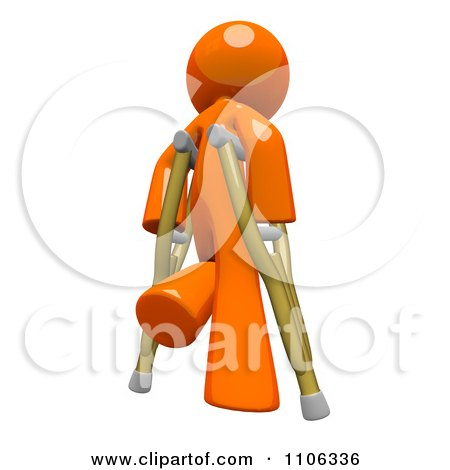 3d Orange Man Using Crutches 1 Posters, Art Prints