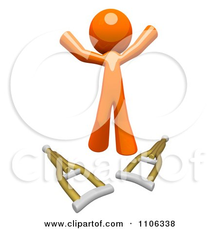 3d Healed Orange Man Jumping Over Crutches Posters, Art Prints