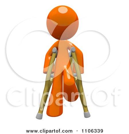 Clipart 3d Orange Man Using Crutches 3 - Royalty Free CGI Illustration by Leo Blanchette