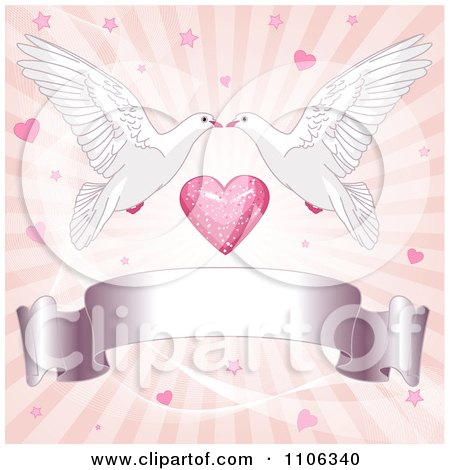 Clipart Pink Ray Wedding Background With Two Kissing Doves Hearts And A Blank Ribbon Banner - Royalty Free Vector Illustration by Pushkin