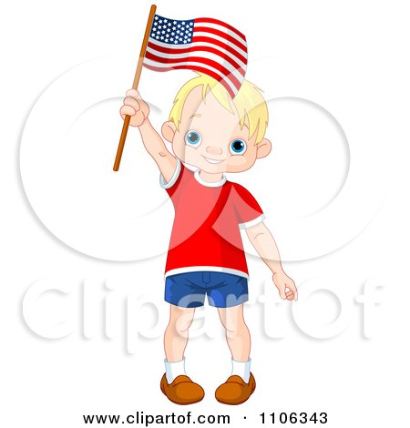 Clipart Happy Blond Patriotic American Boy Waving A USA Flag - Royalty Free Vector Illustration by Pushkin
