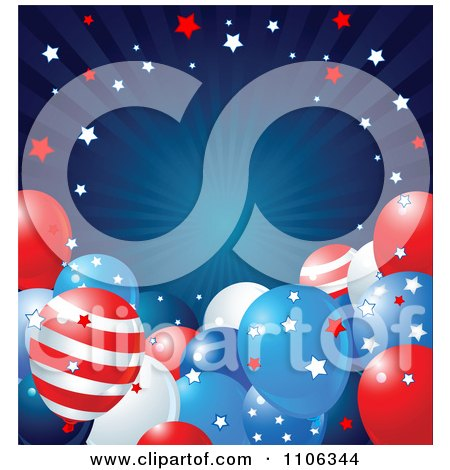 Clipart Blue Ray American Background With Stars And Patriotic Party Balloons - Royalty Free Vector Illustration by Pushkin