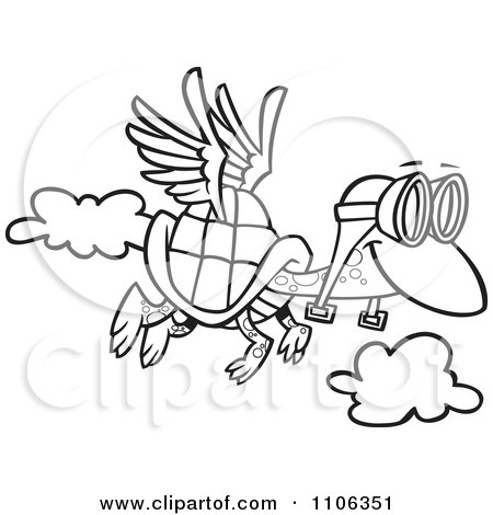 Clipart Outlined Tortoise Flying With Pilot Goggles - Royalty Free Vector Illustration by toonaday