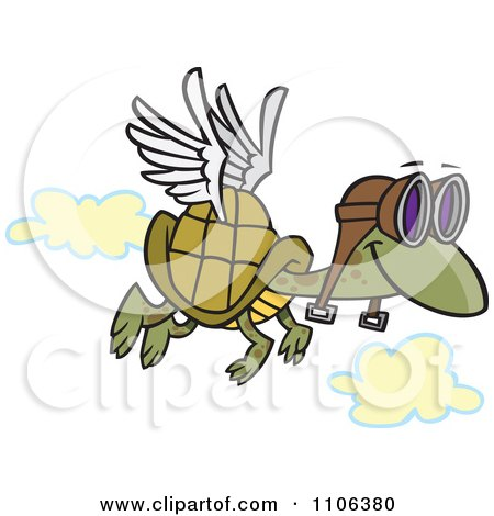 Clipart Tortoise Flying With Pilot Goggles - Royalty Free Vector Illustration by toonaday