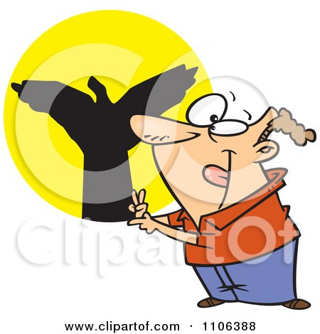 Clipart Man Making Shadow Puppets - Royalty Free Vector Illustration by toonaday