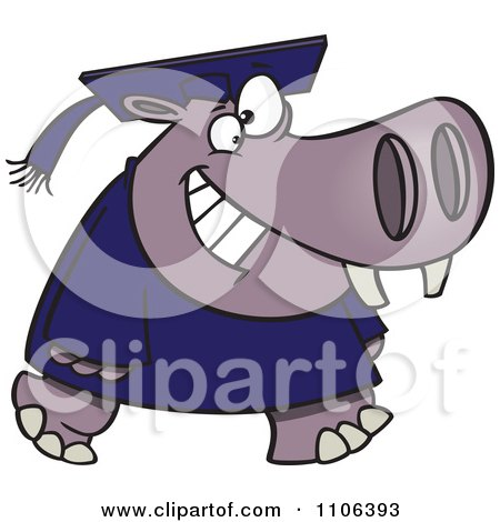 Clipart Graduate Hippo Walking And Smiling - Royalty Free Vector Illustration by toonaday