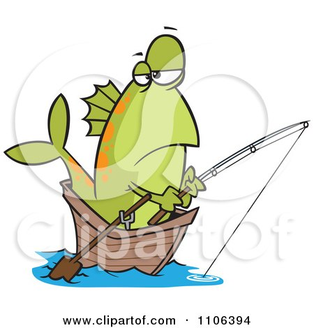 Clipart Fish Fishing From A Boat - Royalty Free Vector Illustration by toonaday