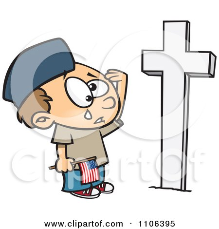 Clipart Boy Crying At A Soldiers Grave On Memorial Day - Royalty Free Vector Illustration by toonaday