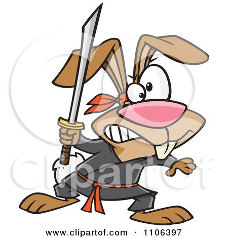 Clipart Ninja Rabbit With A Sword - Royalty Free Vector Illustration by Ron Leishman