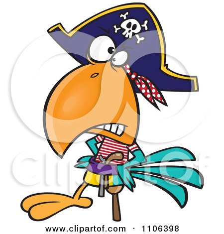 Clipart Goofy Pirate Parrot With A Peg Leg - Royalty Free Vector Illustration by toonaday