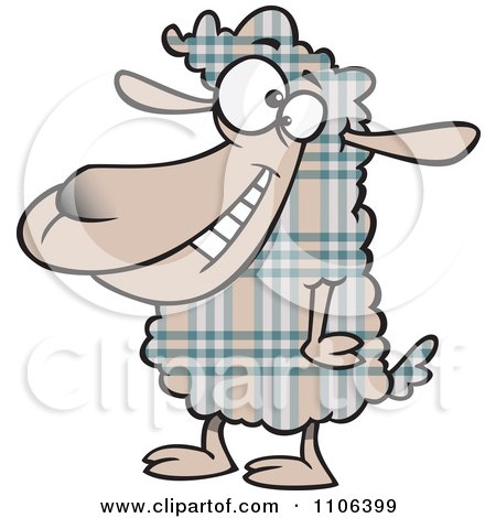 Clipart Happy Plaid Sheep - Royalty Free Vector Illustration by toonaday