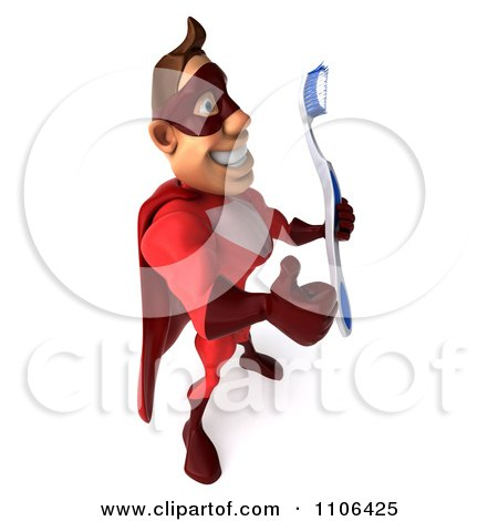 Clipart 3d Red Super Hero Guy Holding A Thumb Up And Facing Right With A Tooth Brush - Royalty Free CGI Illustration by Julos