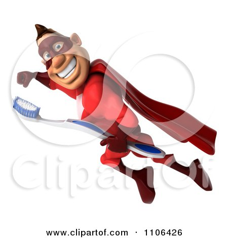 Clipart 3d Red Super Hero Guy Flying With A Tooth Brush 1 - Royalty Free CGI Illustration by Julos