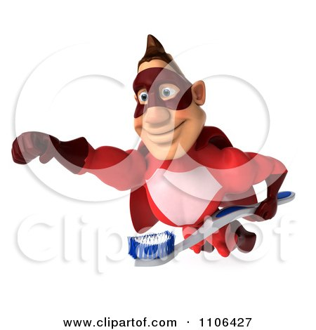 Clipart 3d Red Super Hero Guy Flying With A Tooth Brush 2 - Royalty Free CGI Illustration by Julos