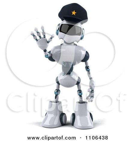 Clipart 3d Techno Robot Police Officer Holding A Hand Out To Stop Traffic 1 - Royalty Free CGI Illustration by Julos