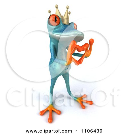 Clipart 3d Turquoise Springer Frog Prince Wearing A Crown And Forming A Heart With His Hands 2 - Royalty Free CGI Illustration by Julos