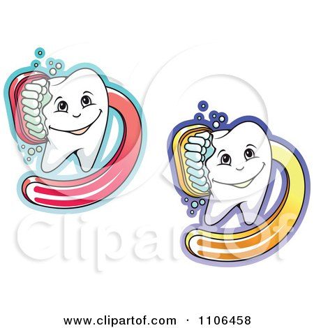 Clipart Happy Dental Teeth Being Scrubbed With Brushes - Royalty Free Vector Illustration by Vector Tradition SM