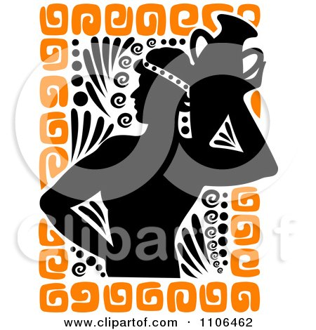 Clipart Silhouetted Greek Man Carrying A Vase With Orange Designs...