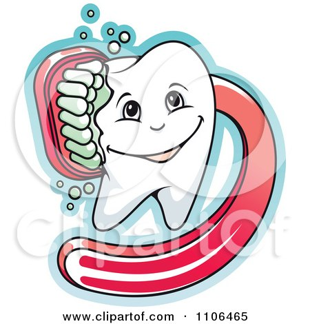 Clipart Happy Dental Tooth Being Scrubbed With A Red Brush - Royalty Free Vector Illustration by Vector Tradition SM