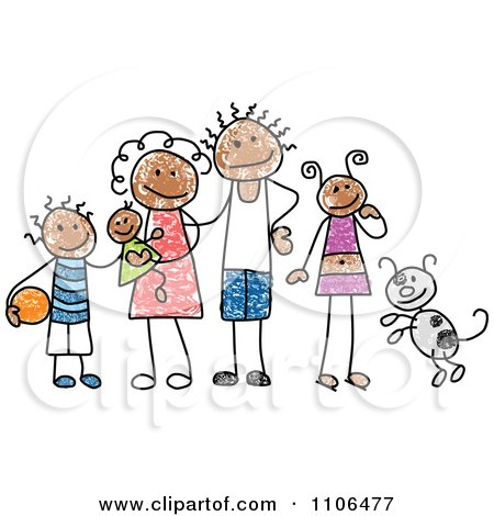 Clipart Stick Drawing Of A Happy Black Family With Their Dog - Royalty Free Vector Illustration by C Charley-Franzwa