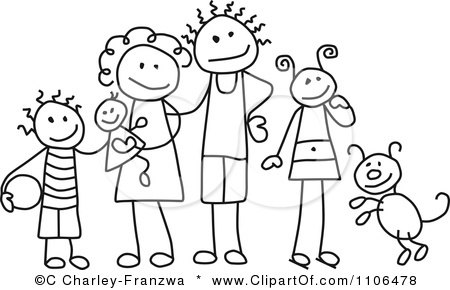 Clipart Black And White Stick Drawing Of A Happy Family With Their Dog - Royalty Free Vector Illustration by C Charley-Franzwa