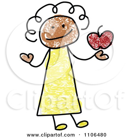 Clipart Stick Drawing Of A Happy Black Female Teacher Holding An Apple - Royalty Free Vector Illustration by C Charley-Franzwa