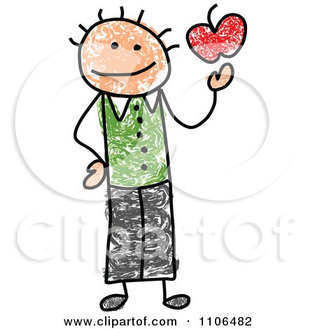 Clipart Stick Drawing Of A Happy Male Teacher Holding An Apple - Royalty Free Vector Illustration by C Charley-Franzwa
