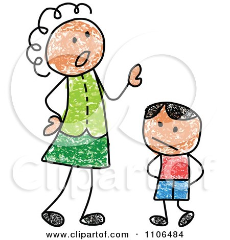 Clipart Stick Drawing Of A Mother Scolding Her Son - Royalty Free Vector Illustration by C Charley-Franzwa