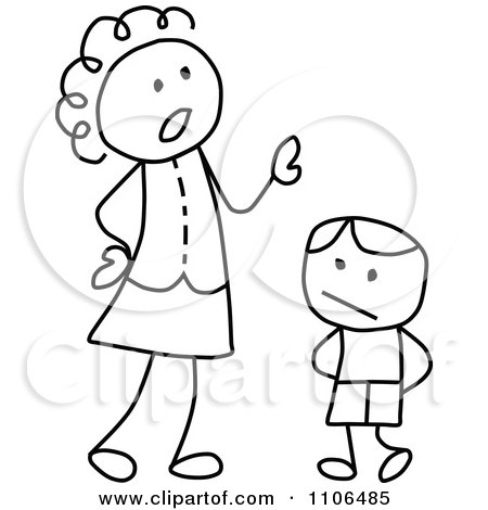 Clipart Black And White Stick Drawing Of A Mother Scolding Her Son - Royalty Free Vector Illustration by C Charley-Franzwa