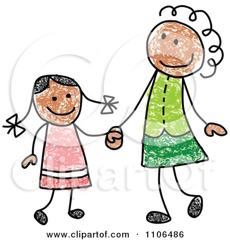 Clipart Stick Drawing Of A Happy Black Mother And Daughter Holding Hands - Royalty Free Vector Illustration by C Charley-Franzwa