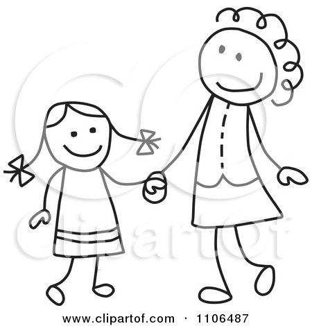 Clipart Black And White Stick Drawing Of A Happy Mother And Daughter Holding Hands - Royalty Free Vector Illustration by C Charley-Franzwa