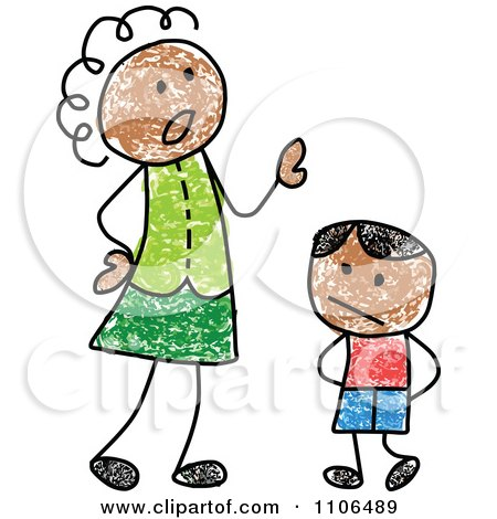 Clipart Stick Drawing Of A Black Mother Scolding Her Son - Royalty Free Vector Illustration by C Charley-Franzwa