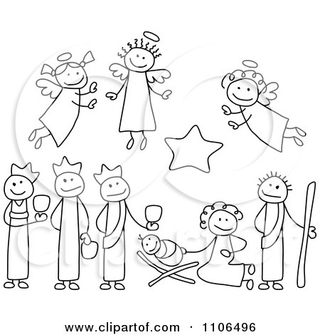 Clipart Black And White Stick Drawings Of Nativity Scene People - Royalty Free Vector Illustration by C Charley-Franzwa