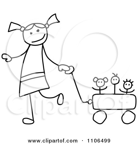 Clipart Black And White Stick Drawing Of A Happy Girl Pulling Her Toys In A Wagon - Royalty Free Vector Illustration by C Charley-Franzwa