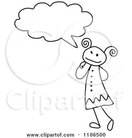 Clipart Black And White Stick Drawing Of A Girl In Thought - Royalty Free Vector Illustration by C Charley-Franzwa