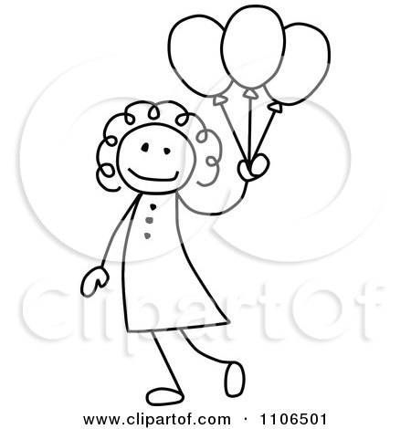 Clipart Black And White Stick Drawing Of A Happy Girl With Party Balloons - Royalty Free Vector Illustration by C Charley-Franzwa