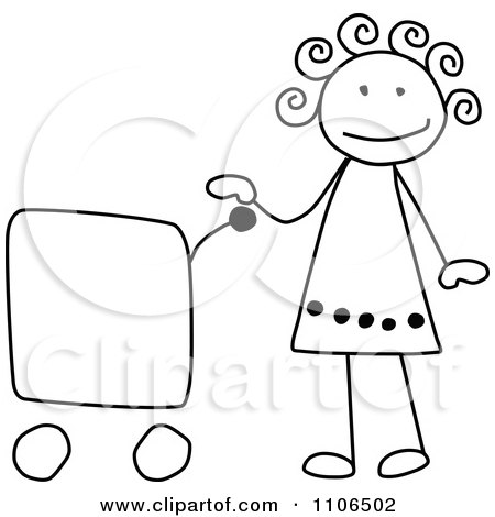 Clipart Black And White Stick Drawing Of A Happy Girl With A Shopping Cart - Royalty Free Vector Illustration by C Charley-Franzwa