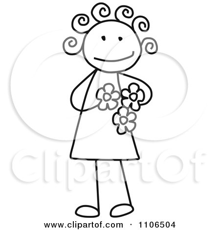 Clipart Black And White Stick Drawing Of A Happy Girl Holding Flowers - Royalty Free Vector Illustration by C Charley-Franzwa